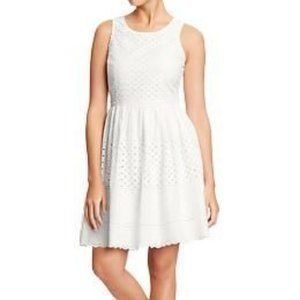 OLD NAVY MIXED EYELET WHITE SUMMER DRESS 12